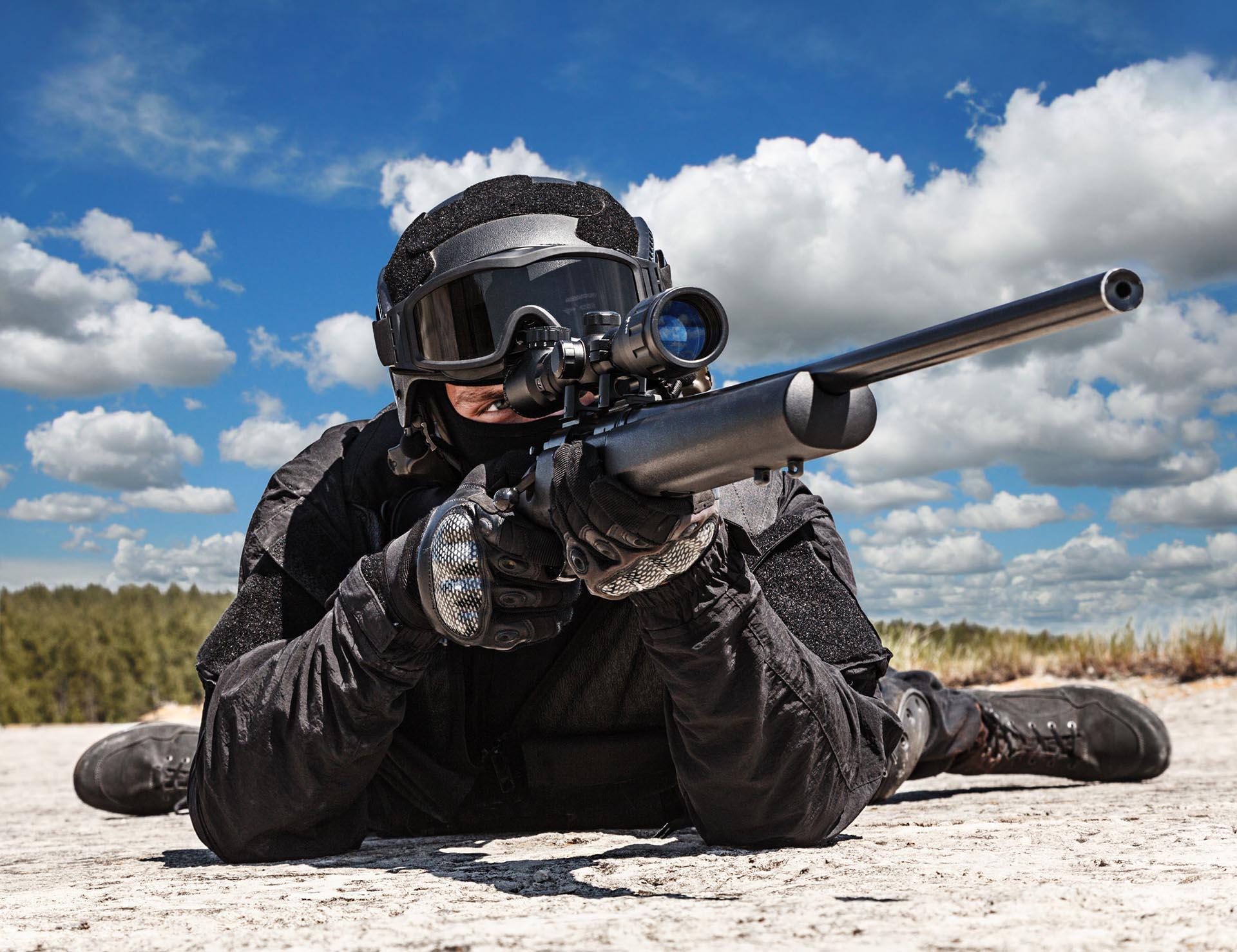 46189366 Police Sniper Swat In Black Uniform In Action Safeshoot
